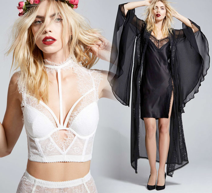 Courtney Love x Nasty Gal - Burn Black Lace Bustier in White and Heaven Tonight Sheer Kimono