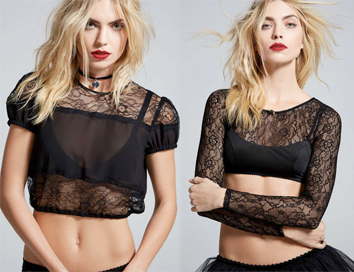 Courtney Love x Nasty Gal - Burn Black Lace Crop Top and Burn Black Lace Top