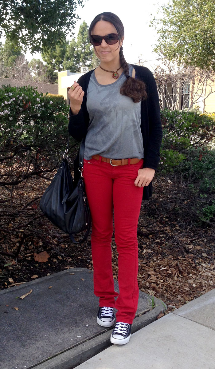 Red Jeans for Valentine's Day and Every Day - Front View 3
