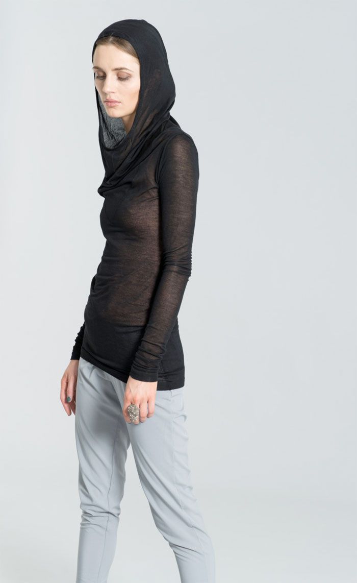 Dark Modern Minimalist Pieces by marcellamoda - Long Sleeve Hoody Shirt