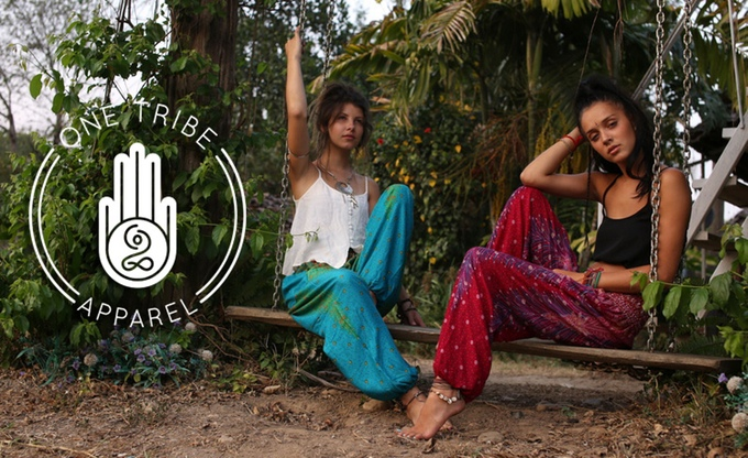 Embroidered Denim Shorts by One Tribe Apparel - Harem Pants