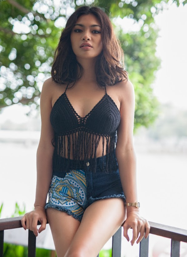 Embroidered Denim Shorts by One Tribe Apparel - Model with black crochet top