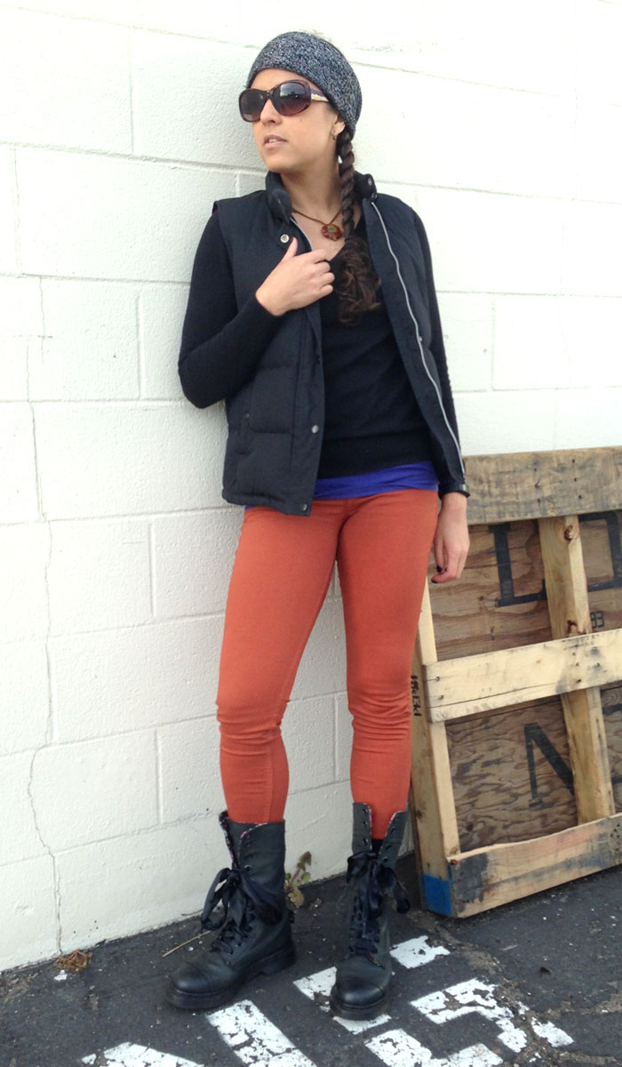 The Rag & Bone Twill Legging in Burnt Orange - Front View 2