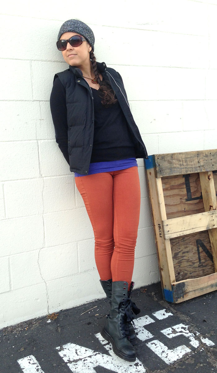 The Rag & Bone Twill Legging in Burnt Orange - Leaning On Wall