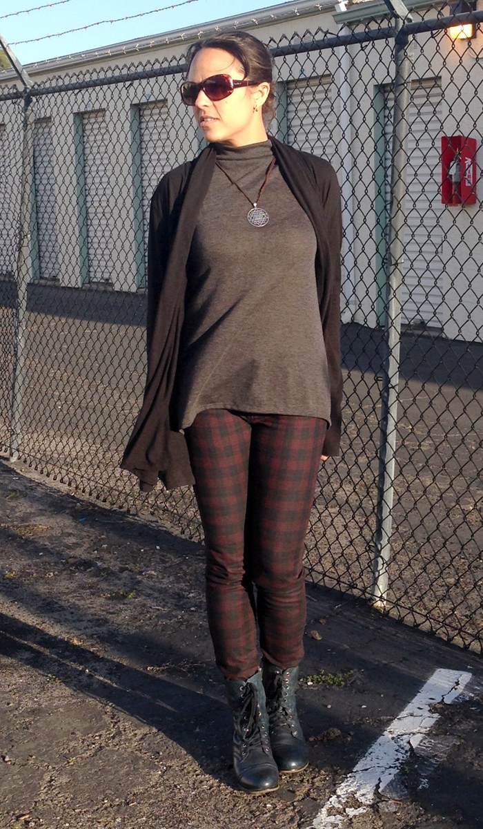 Turtleneck Tunic and Plaid Jeans - With Cardigan