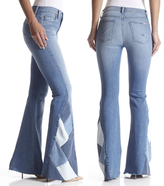 New Fun Flares from Hudson Jeans - Laurel High Waist Patchwork Flare in Radio Silence