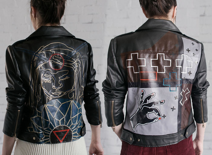 Omnivore Friendly Vegan Jackets by Fauxgerty - Light Headed Heavy Intention Jacket and Flippant Projection Jacket