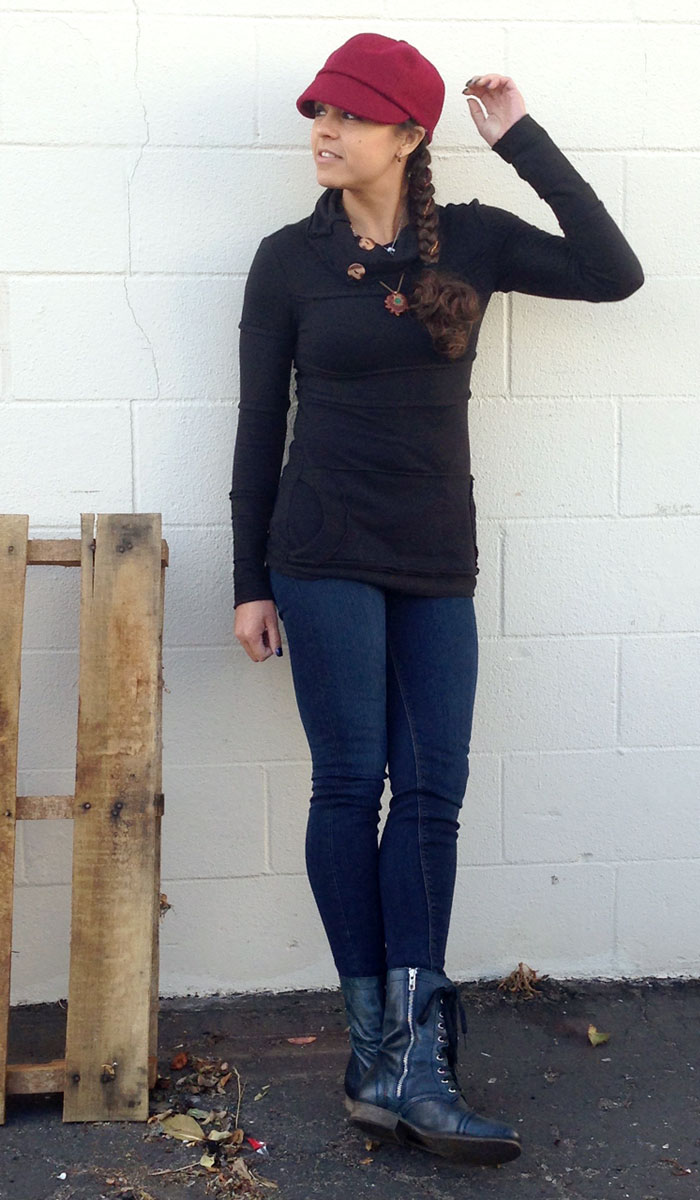 Nomad's Hemp Wear and Hudson Jeans - Leaning on Wall