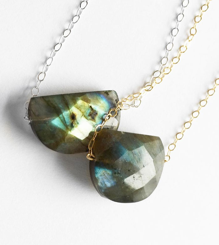 Gemstone Necklace Sale at Midwinter Co. - Faceted Labradorite Half Moon Necklace