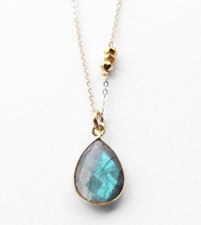 Gemstone Necklace Sale at Midwinter Co. - Labradorite Faceted Drop and Pyrite Necklace