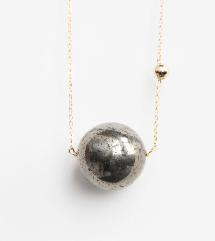 Gemstone Necklace Sale at Midwinter Co. - Sidekick Huge Pyrite Sun and Earth Necklace