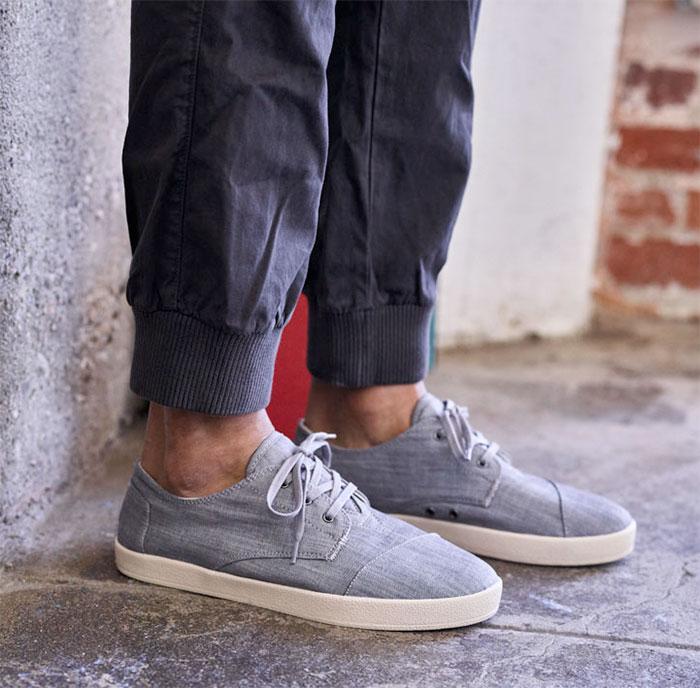 Denim Shoes for Everyone at TOMS - Grey Denim Men's Paseo Sneakers
