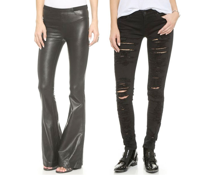 Back to Black for Fall with BLANKNYC - Faux Leather Flares and Black Ripped Skinny