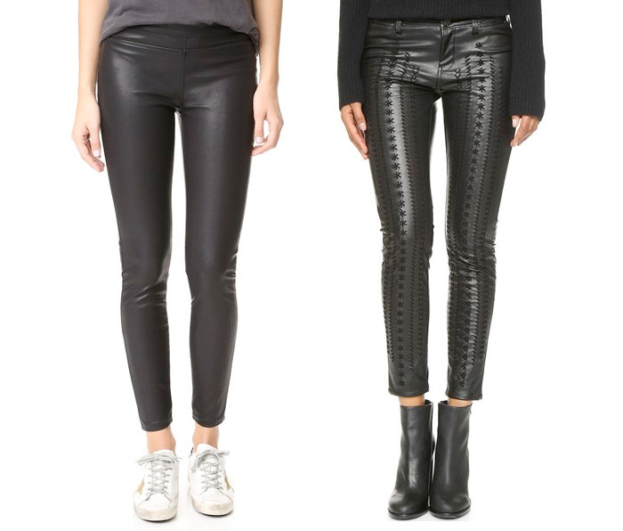 Back to Black for Fall with BLANKNYC - Faux Leather Black Pull On Leggings and Black Embroidered Vegan Leather Pants