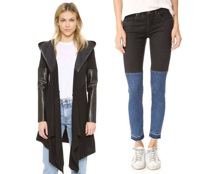 Back to Black for Fall with BLANKNYC - Vegan Leather Black Cardigan and Two Tone Jeans