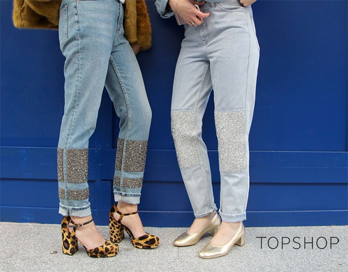 Limited Edition Glitter Jeans at Topshop