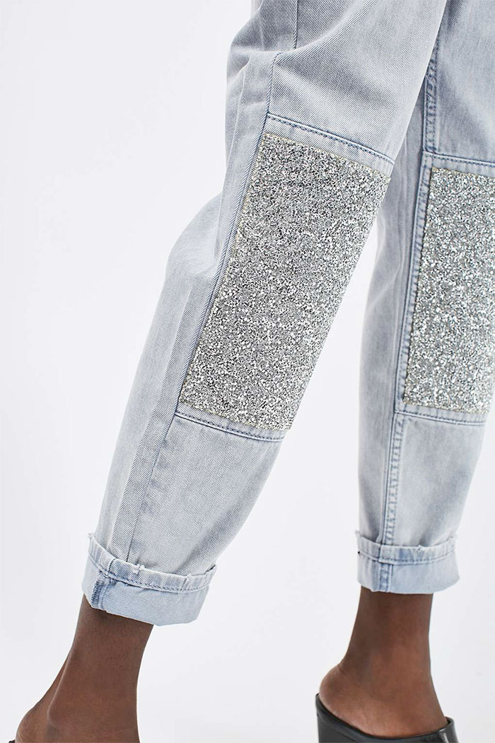 Limited Edition Glitter Jeans at Topshop - Mom Jeans Knees
