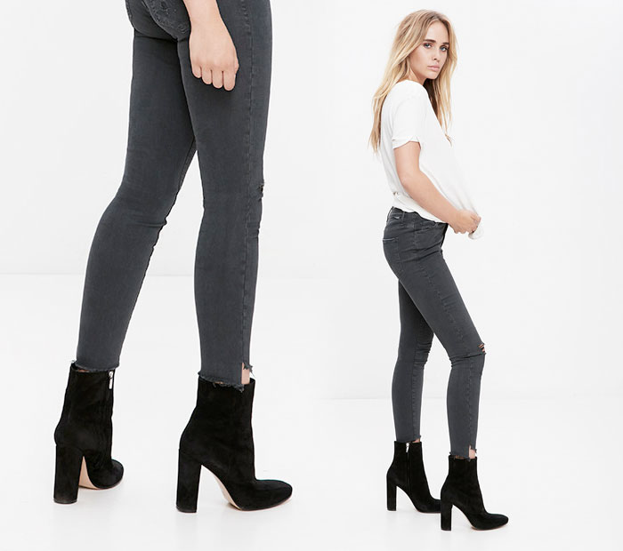 The Step Fray by Mother Denim - Stunner in Faded Black