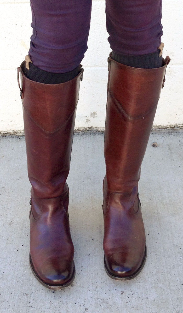 My New Frye Melissa Tab Riding Boots - Front Closeup