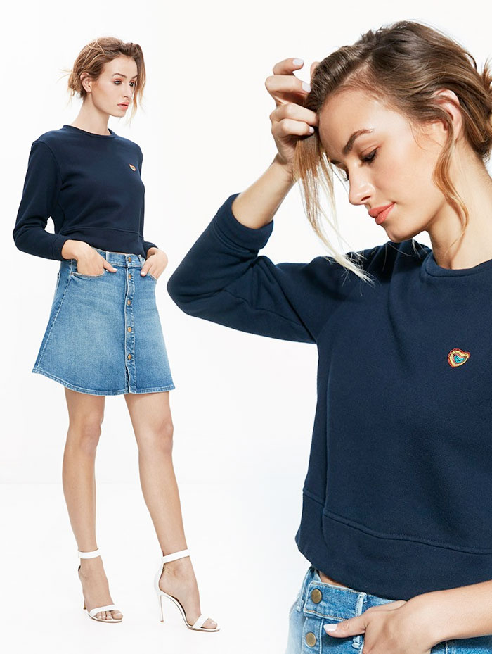 Miranda Kerr x MOTHER for the Royal Hospital for Women - Open Your Heart Sweatshirt and Snap Down Mini Flare Skirt