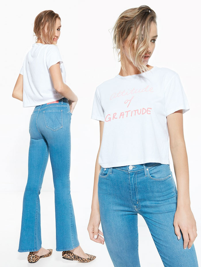 Miranda Kerr x MOTHER for the Royal Hospital for Women - T-Time Crop Shirt and Funday Flare