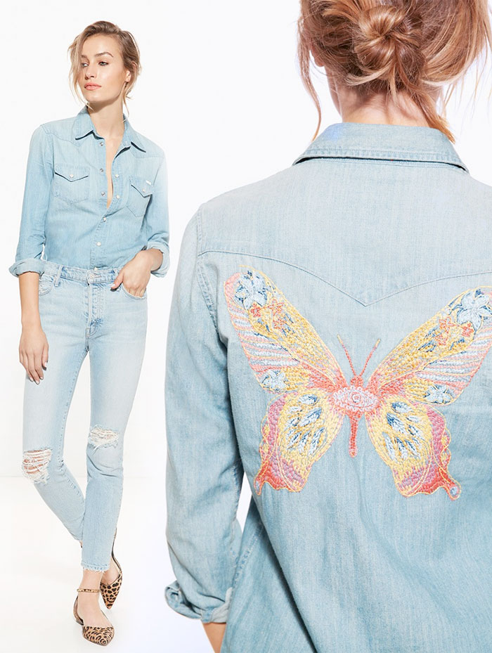 Miranda Kerr x MOTHER for the Royal Hospital for Women - Joy Denim Shirt and Easy Does It Jean
