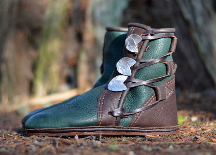 Custom Artisan Leather Footwear by Soul Path Shoes - Green Elf Mocs