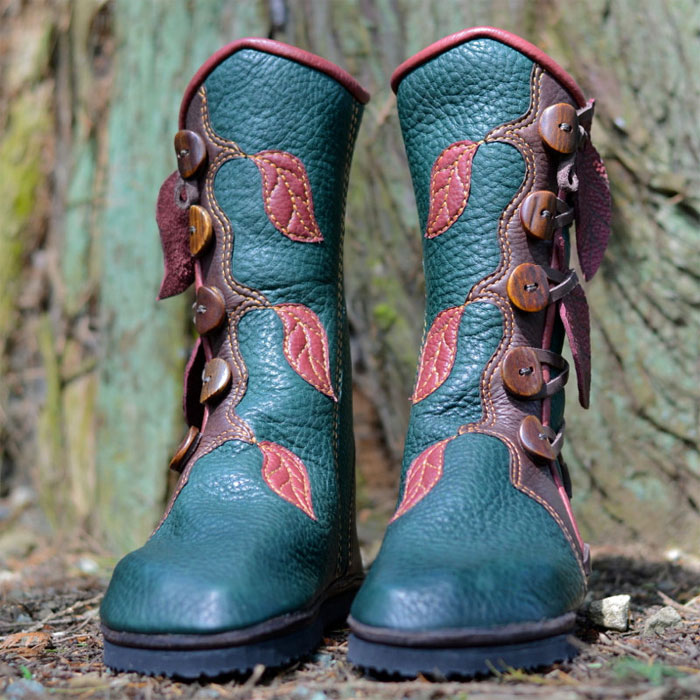Custom Artisan Leather Footwear by Soul Path Shoes - Jade Forest