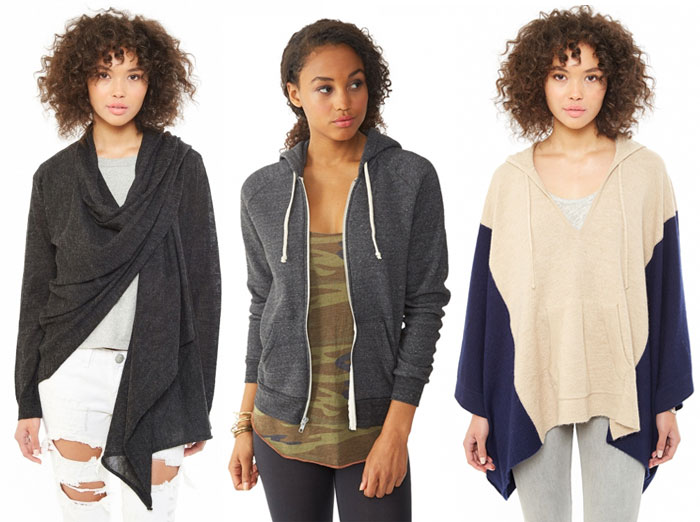 Sustainable and Soft Closet Essentials from Alternative - Hoodie, wrap and poncho