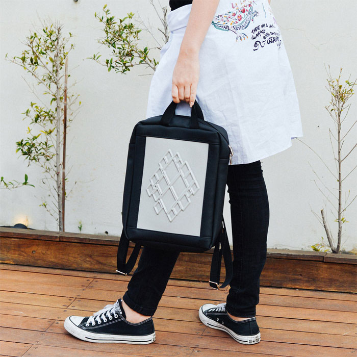 New Vegan Backpacks and Totes from MeDusa Bags - Black with White Backpack 15f648d17ed87