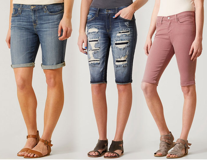 Knee Length Bermuda Shorts for Work or Weekends - Buckle