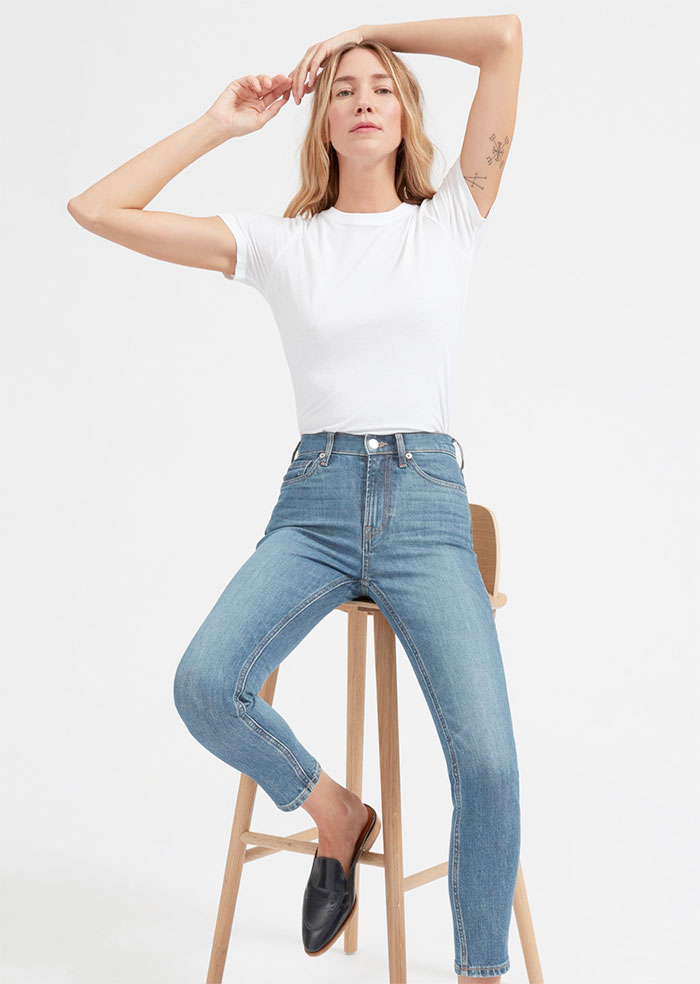 The New Eco Friendly Denim Line from Everlane - High Rise Skinny Ankle in Mid Blue