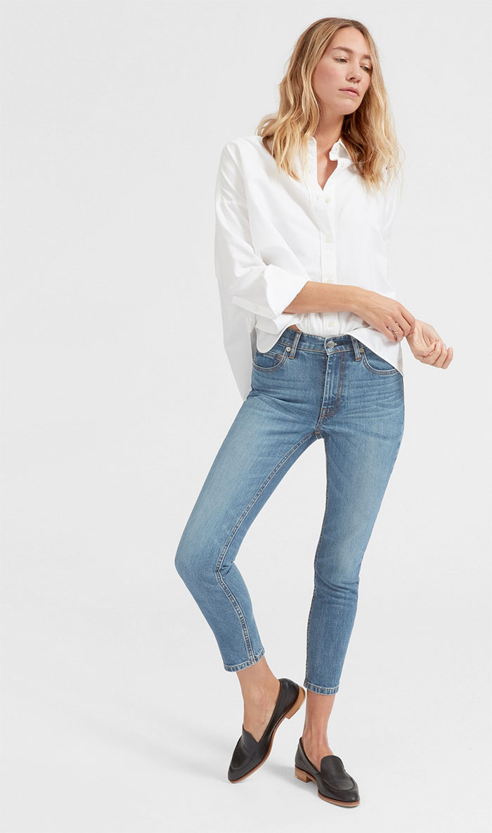 The New Eco Friendly Denim Line from Everlane - Mid Rise Skinny Ankle in Mid Blue
