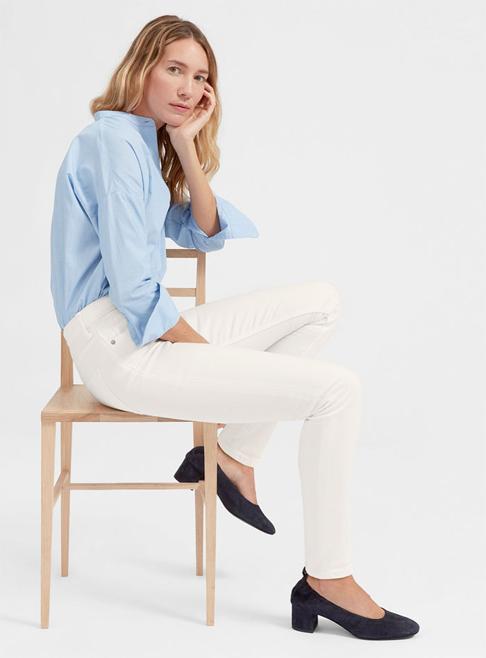 The New Eco Friendly Denim Line from Everlane - Mid Rise Skinny in Bone