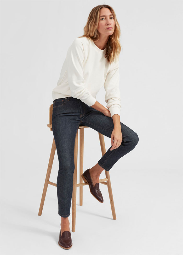 The New Eco Friendly Denim Line from Everlane - Mid Rise Skinny in Dark Indigo