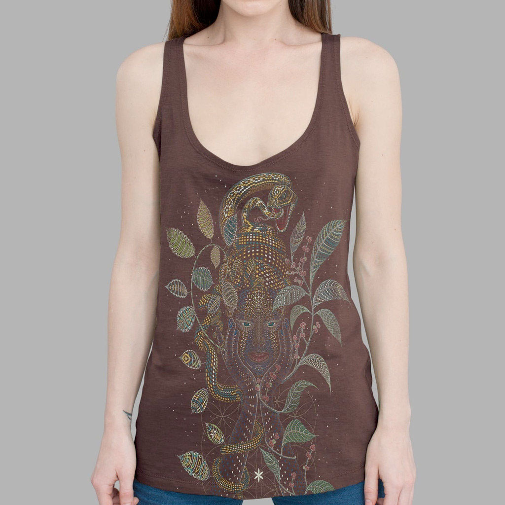 Psychedelic Tees and Tanks by Symbolika  - Ayahuasca Tank in Brown