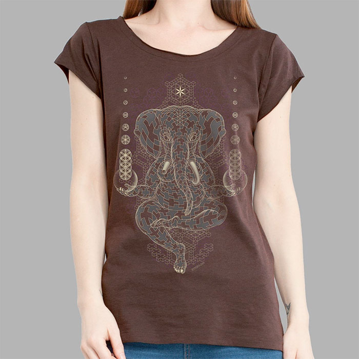 Psychedelic Tees and Tanks by Symbolika  - Ganesha Brown Tee