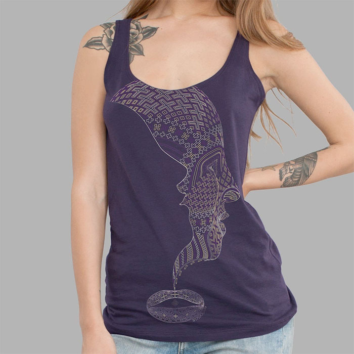Psychedelic Tees and Tanks by Symbolika  - Shipibo Geometry Tank in Aubergine