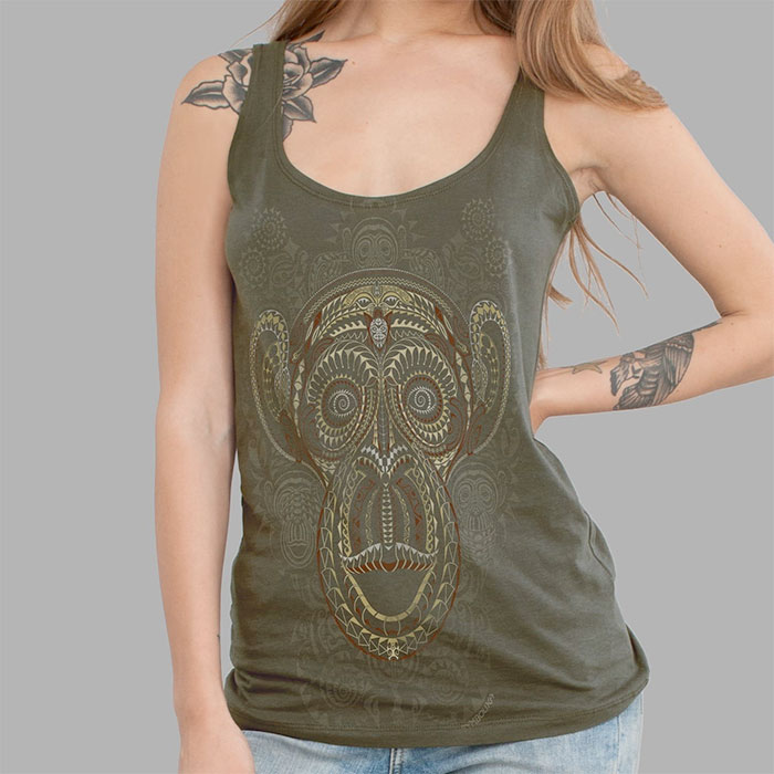 Psychedelic Tees and Tanks by Symbolika  - Ta Moko Monkey Tank in Green