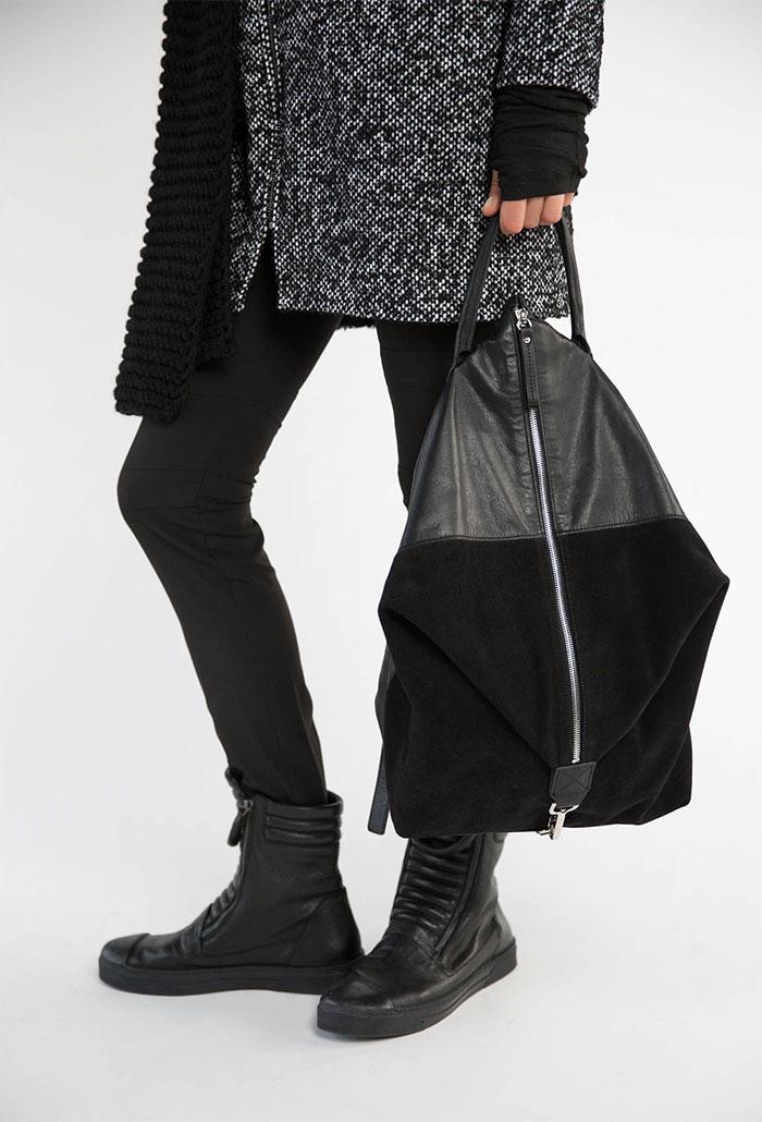 New Dark and Modern Asymmetrical Artistry from Marcellamoda - Backpack