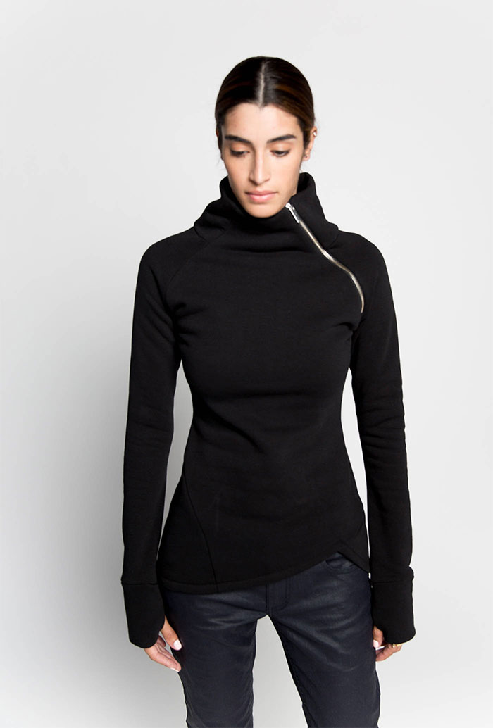 New Dark and Modern Asymmetrical Artistry from Marcellamoda - Casual Sweatshirt