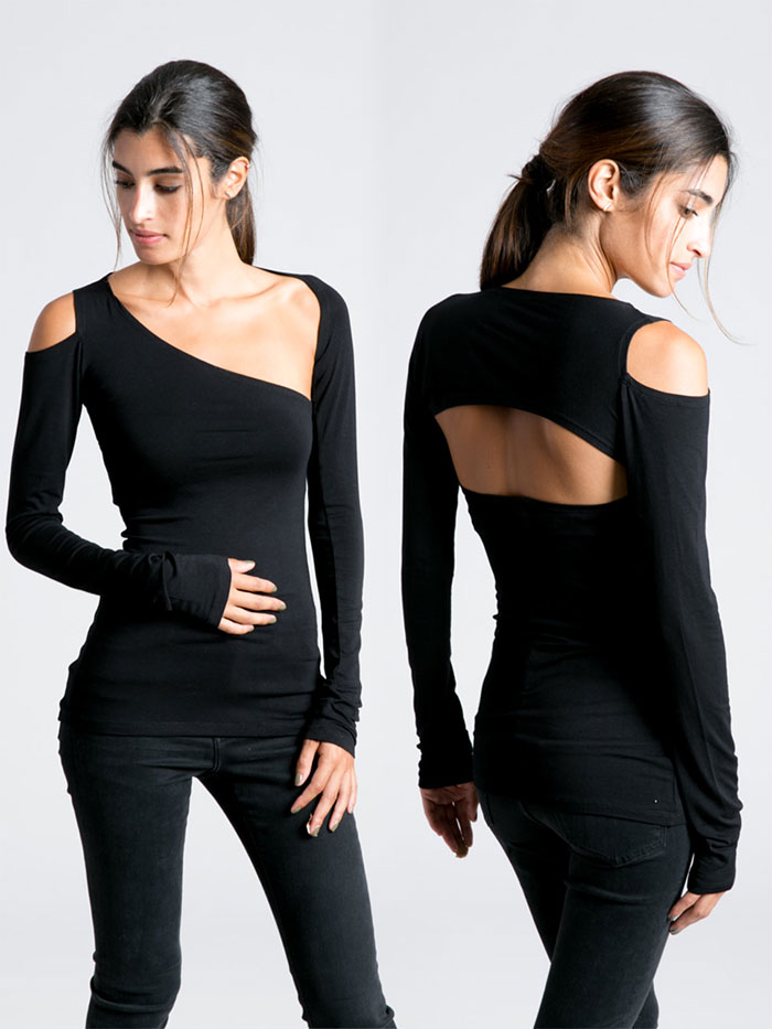 New Dark and Modern Asymmetrical Artistry from Marcellamoda - Cocktail Blouse