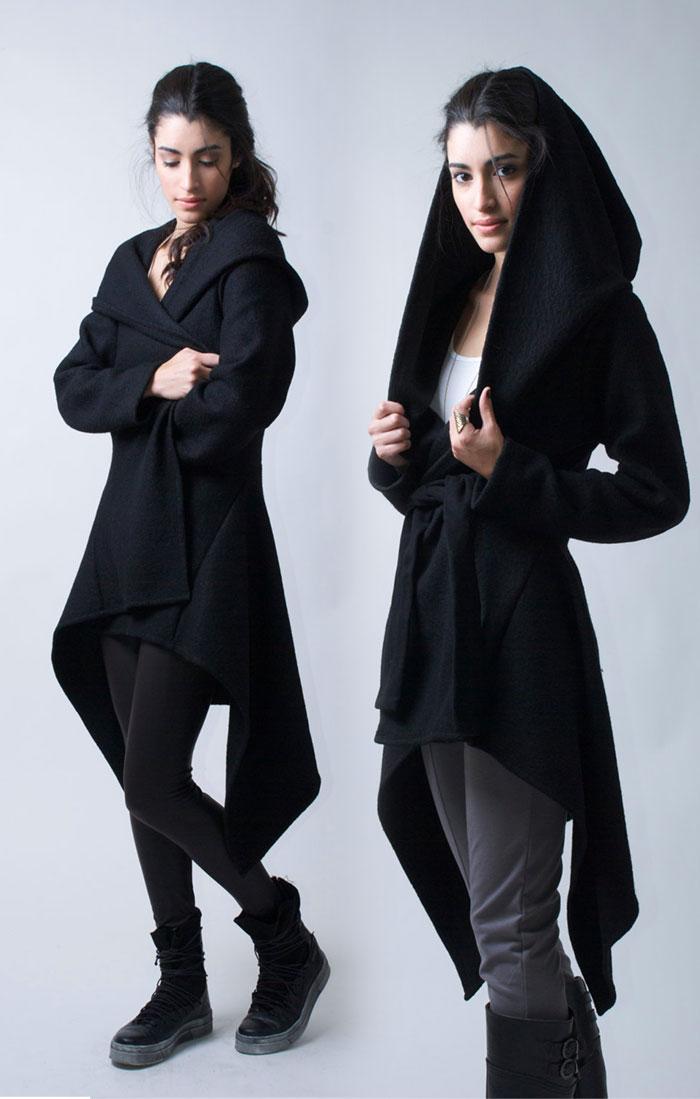 New Dark and Modern Asymmetrical Artistry from Marcellamoda - Hooded Black Light Coat