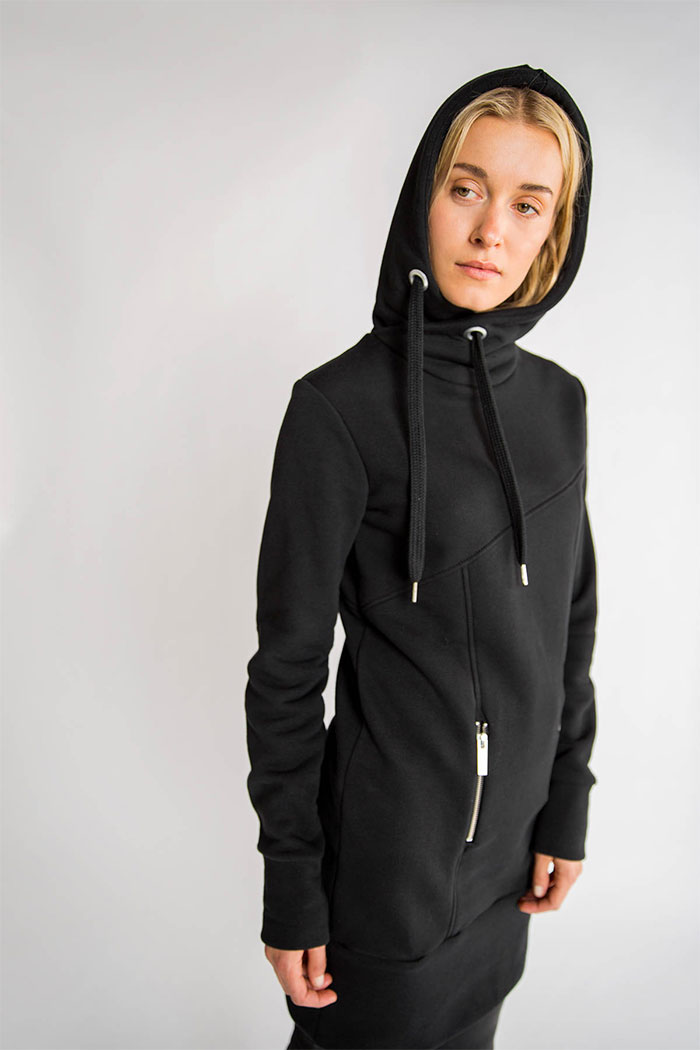 New Dark and Modern Asymmetrical Artistry from Marcellamoda - Hoodie