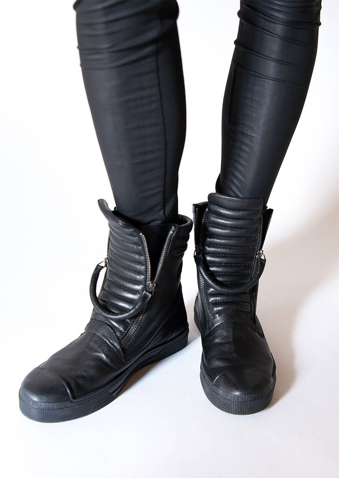 New Dark and Modern Asymmetrical Artistry from Marcellamoda - Leather Sneaker Boots