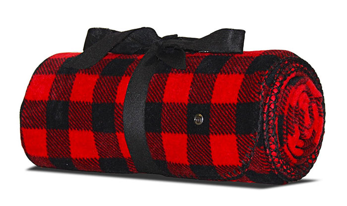 Mitscoots Outfitters Launches Blankets and Pillows for the Homeless - Blanket Black Red Plaid