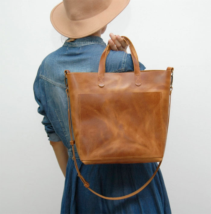 natural leather tote bags for fall from etsy decadent