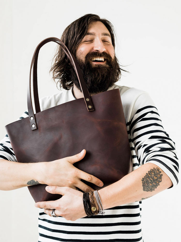 Natural Leather Tote Bags for Fall from Etsy - Portland Leather