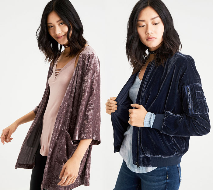 Shop the Holiday Velvet Trend at American Eagle Outfitters - Kimono and Bomber