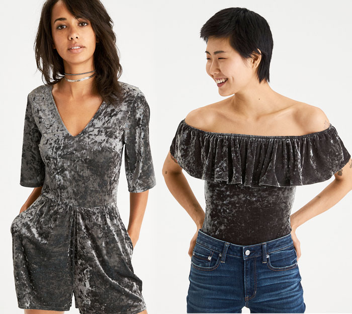 Shop the Holiday Velvet Trend at American Eagle Outfitters - Romper and Bodysuit